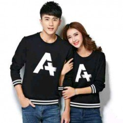Sweater Alpha Rajut Black White - Mantel / Busana / Fashion / Couple / Pasangan / Babyterry / Kasual