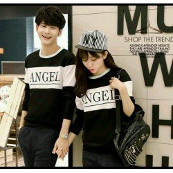 Sweater Angel Black White - Mantel / Busana / Fashion / Couple / Pasangan / Babyterry / Kasual