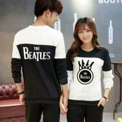 Sweater Beatles Cross Black White - Mantel / Busana / Fashion / Couple / Pasangan / Babyterry / Kasual