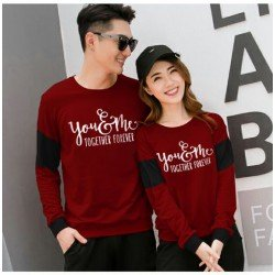 Sweater Forever Maroon Black - Mantel / Busana / Fashion / Couple / Pasangan / Babyterry / Kasual