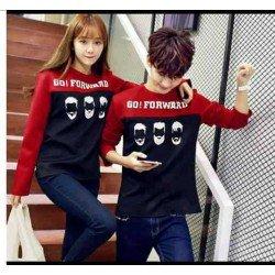Sweater Go Forward Red Black - Mantel / Busana / Fashion / Couple / Pasangan / Babyterry / Sporty