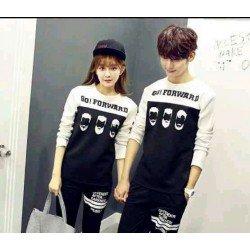 Sweater Go Forward White Black - Mantel / Busana / Fashion / Couple / Pasangan / Babyterry / Sporty