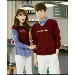 Sweater Lucky Boy Kombinasi Maroon - Mantel / Busana / Fashion / Couple / Pasangan / Babyterry / Kasual