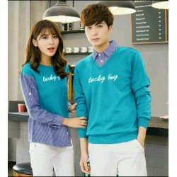 Sweater Lucky Boy Kombinasi Turquise - Mantel / Busana / Fashion / Couple / Pasangan / Babyterry / Kasual