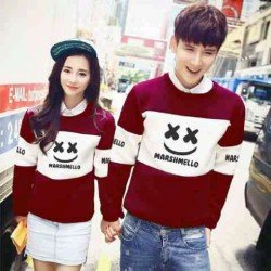 Sweater Marshmello Maroon White - Mantel / Busana / Fashion / Couple / Pasangan / Babyterry / Kasual