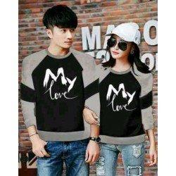 Sweater My Love Black Misty - Mantel / Busana / Fashion / Couple / Pasangan / Babyterry / Kasual