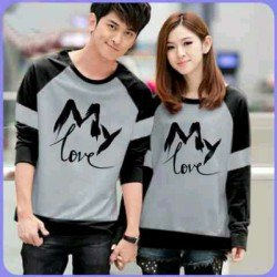 Sweater My Love Misty Black - Mantel / Busana / Fashion / Couple / Pasangan / Babyterry / Kasual