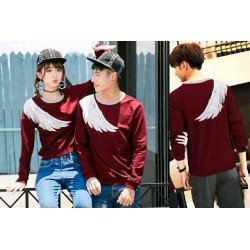 Sweater Sayap Red - Mantel / Busana / Fashion / Couple / Pasangan / Babyterry / Kasual