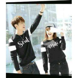 Sweater Soulmate Arm Black White - Mantel / Busana / Fashion / Couple / Pasangan / Babyterry / Sporty