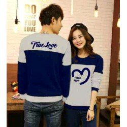 Sweater True Love Navy Misty - Mantel / Busana / Fashion / Couple / Pasangan / Babyterry / Sporty
