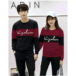 Sweater Wisdom Cross Maroon Black - Mantel / Busana / Fashion / Couple / Pasangan / Babyterry / Sporty