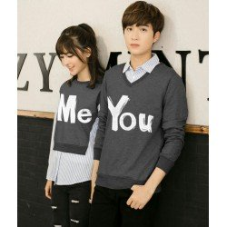 Sweater You Me Kombinasi Dark Grey - Mantel / Busana / Fashion / Couple / Pasangan / Babyterry / Kasual