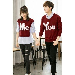 Sweater You Me Kombinasi Maroon - Mantel / Busana / Fashion / Couple / Pasangan / Babyterry / Kasual