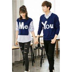 Sweater You Me Kombinasi Navy - Mantel / Busana / Fashion / Couple / Pasangan / Babyterry / Kasual