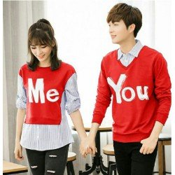 Sweater You Me Kombinasi Red - Mantel / Busana / Fashion / Couple / Pasangan / Babyterry / Kasual
