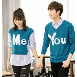 Sweater You Me Kombinasi Turquise - Mantel / Busana / Fashion / Couple / Pasangan / Babyterry / Kasual