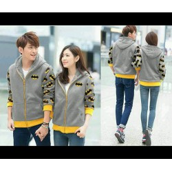 Jacket Batman Abu - Jacket / Busana / Fashion / Couple / Pasangan / Babyterry / Sporty