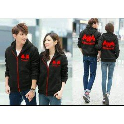 Jacket Marshmello Hitam - Jacket / Busana / Fashion / Couple / Pasangan / Babyterry / Sporty