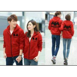 Jacket Marshmello Merah - Jacket / Busana / Fashion / Couple / Pasangan / Babyterry / Sporty