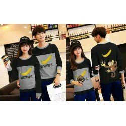 Sweater Banana Black Grey - Mantel / Busana / Fashion / Couple / Pasangan / Babyterry / Kasual