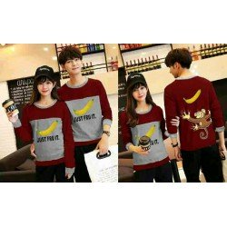 Sweater Banana Maroon Grey - Mantel / Busana / Fashion / Couple / Pasangan / Babyterry / Kasual