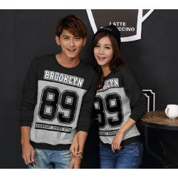 Sweater Brooklyn Black Grey - Mantel / Busana / Fashion / Couple / Pasangan / Babyterry / Kasual