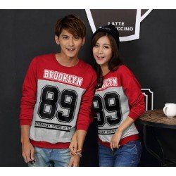 Sweater Brooklyn Red Grey - Mantel / Busana / Fashion / Couple / Pasangan / Babyterry / Kasual