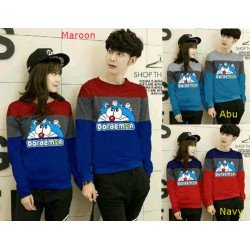Sweater Doraemon Head - Mantel / Busana / Fashion / Couple / Pasangan / Babyterry / Kasual