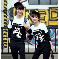 Sweater For Mine White Black - Mantel / Busana / Fashion / Couple / Pasangan / Babyterry / Kasual