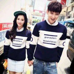 Sweater Grand Navy - Mantel / Busana / Fashion / Couple / Pasangan / Babyterry / Kasual
