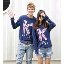 Sweater K Paris Navy - Mantel / Busana / Fashion / Couple / Pasangan / Babyterry / Kasual