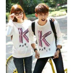 Sweater K Paris White - Mantel / Busana / Fashion / Couple / Pasangan / Babyterry / Kasual