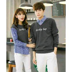 Sweater Lucky Boy Kombinasi Dark Grey - Mantel / Busana / Fashion / Couple / Pasangan / Babyterry / Kasual
