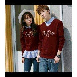 Sweater Only You Kombinasi Maroon - Mantel / Busana / Fashion / Couple / Pasangan / Babyterry / Kasual