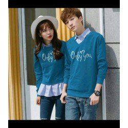 Sweater Only You Kombinasi Tourquise - Mantel / Busana / Fashion / Couple / Pasangan / Babyterry / Kasual
