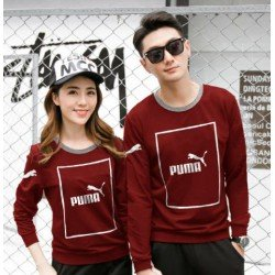 Sweater Puma Kotak Maroon - Mantel / Busana / Fashion / Couple / Pasangan / Babyterry / Sporty