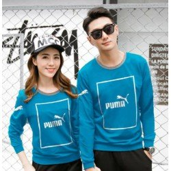 Sweater Puma Kotak Turquise - Mantel / Busana / Fashion / Couple / Pasangan / Babyterry / Sporty
