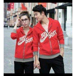 Jaket Do It Nike Merah - Mantel / Busana / Fashion / Couple / Pasangan / Babyterry / Sporty