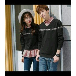 Sweater Fila List Hitam - Mantel / Busana / Fashion / Couple / Pasangan / Babyterry / Kasual