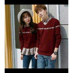 Sweater Fila List Maroon - Mantel / Busana / Fashion / Couple / Pasangan / Babyterry / Kasual