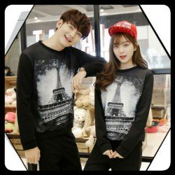 Sweater Paris Sephia Black - Mantel / Busana / Fashion / Couple / Pasangan / Babyterry / Kasual