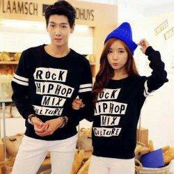 Sweater Rock Hip Hop Black - Mantel / Busana / Fashion / Couple / Pasangan / Babyterry / Kasual