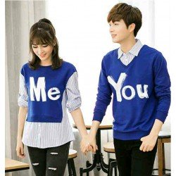 Sweater You Me Kombinasi Biru - Mantel / Busana / Fashion / Couple / Pasangan / Babyterry / Kasual