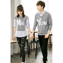 Sweater You Me Kombinasi Light Grey - Mantel / Busana / Fashion / Couple / Pasangan / Babyterry / Kasual