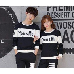 Sweater You Me Neo Black White - Mantel / Busana / Fashion / Couple / Pasangan / Babyterry / Kasual
