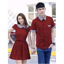 Dress Daisy Salur Maroon - Dress / Busana / Fashion / Couple / Pasangan / Kasual / Elegan