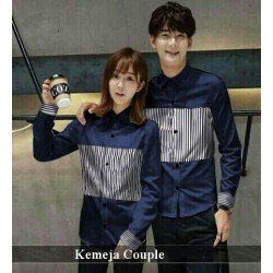 Messita Navy - Baju / Kemeja / Fashion / Couple / Pasangan / Pesta / Kasual