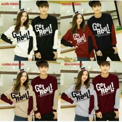 Sweater Get Real - Mantel / Busana / Fashion / Couple / Pasangan / Babyterry / Kasual
