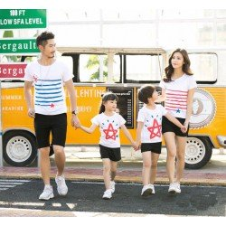 Family 2 Anak Line Star - Baju Family / Family Couple / Baju Keluarga