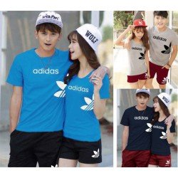 CS Side Adidas - Baju / Kaos / Oblong / Stelan / Couple / Pasangan / Kasual